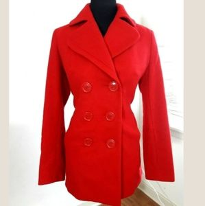 NEW YORK & COMPANY Red Pea Coat Size 2 Wool Jacket